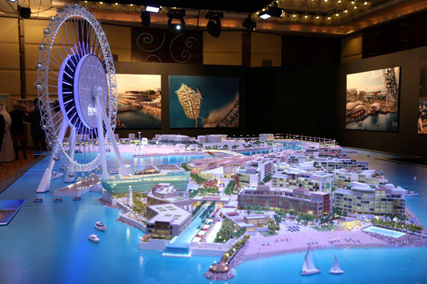 Model Bluewaters Island s ruským kolem Dubai Eye