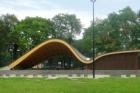 Sádrovláknité desky fermacell v zázemí dřevostavby přírodního amfiteátru v polské Bytomi