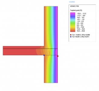 Obr. 8 Rozložení teplot u běžného řešení detailu