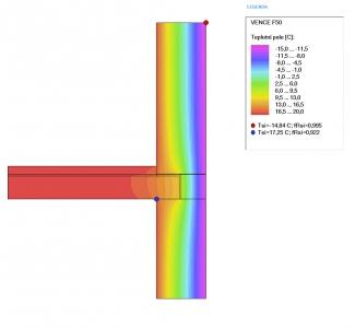 Obr. 9: Rozložení teplot u inovativního řešení detailu