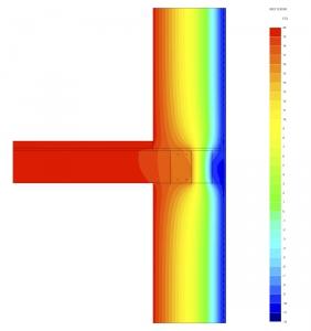 Obr. 10: Rozložení teplot při dynamické simulaci – standardní řešení