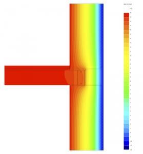 Obr. 11: Rozložení teplot při dynamické simulaci – inovativní řešení