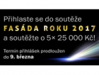 Uzávěrka přihlášek do soutěže Fasáda roku 2017 byla prodloužena do 9. března