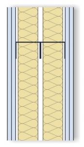 Obr. 1: Schéma zkoušené mezibytové stěny (zdvojený profil CW/UW 75 mm s dvojitým opláštěním SDK tl. 12,5 mm a vloženou minerální izolací tl. 2x 60 mm)