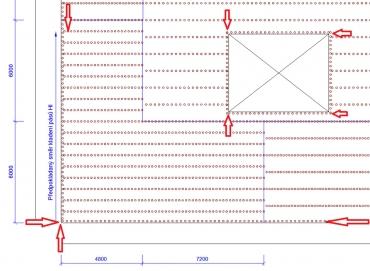 Obr. 19: Ukázka možné přílohy kotevního plánu zhotoveného podle platných předpisů a norem se zákresem staticky účinného kotvení po obvodu střechy a obvodu střešní nástavby