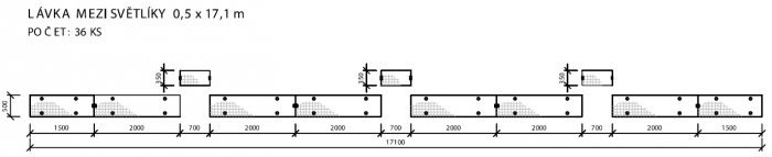 Schéma instalace kompozitní lávky na zastřešení nástupišť Hlavního nádraží v Praze