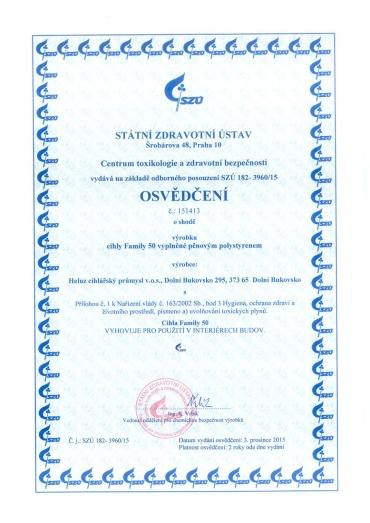 Obr. 4: Osvědčení od Státního zdravotního ústavu ČR pro cihly HELUZ Family 2in1