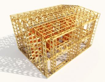 """Obr. 1: Nosný dřevěný skelet obvodového pláště a stropů dvoupodlažního optimalizovaného """"nulového (s potřebou tepla na vytápění pod 5 kWh/m².rok)"""" domu o půdorysu 11,5x9 m umožňující velmi jednoduché uložení 500 mm levné minerální vaty do obvodových stěn a 660 mm do střechy. Náklady na postavení dřevěného skeletu jsou zhruba 100 tisíc Kč a dva týdny práce pro dva lidi. Všechny vazníky (40 ks stěnových a 22 ks střešních) jsou již při jejich výrobě vyplněny minerální vatou (není znázorněno). Velmi jednoduchá výroba jednoho vazníku trvá dvěma lidem asi 20 minut a zabudování další minerální vaty do pravoúhlých dutin mezi vazníky je časově nenáročné. Minerální vata o objemu 200 m³ na zateplení celého obvodového pláště vyjde na pouhých 80 tisíc Kč (aktuálně pro rok 2017)!"""