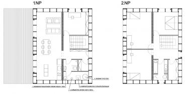 Obr. 3: Z půdorysů optimalizovaného domu je např. vidět snaha o minimalizaci délek vodovodních a kanalizačních vedení
