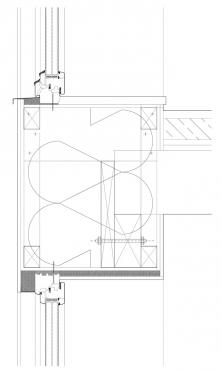 """Obr. 7: Detail z obr. 5, konstrukce """"překladu"""" nad oknem pod stropem 1. NP vytvořeného spojením široké fošny, věnce a stropních trámů"""