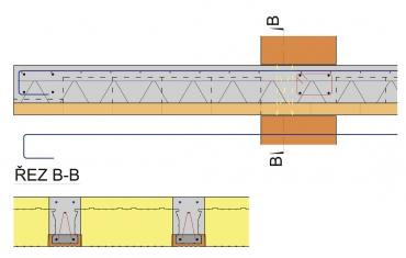Obr. 8: Vyztužení nad trámem a vložení tepelné izolace