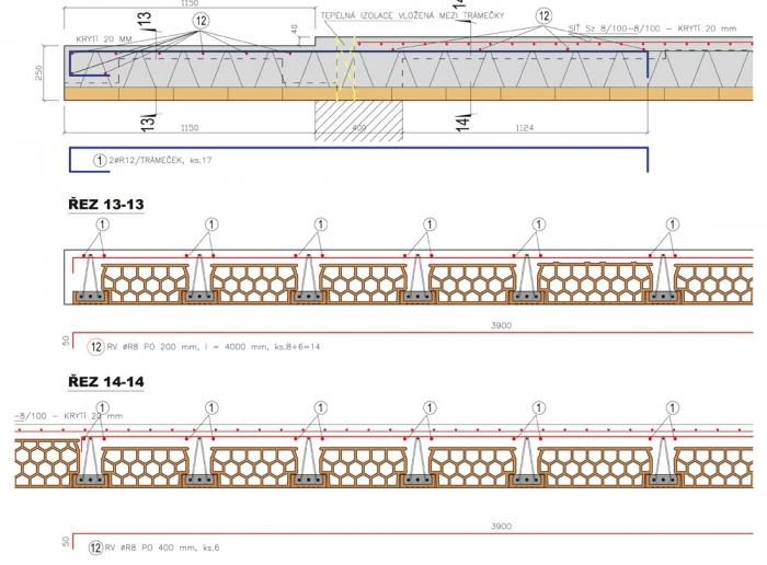 Obr. 13: Řešení změny tloušťky desky z 290 na 250 mm u trámů s výškou 230 mm