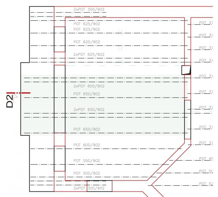 """Obr. 14: Zvýšení trámů """"protažením"""" balkónu"""