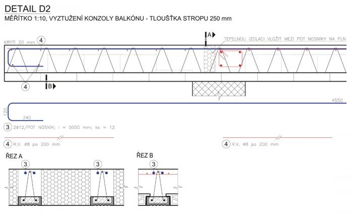 Obr. 15: Řešení balkónu z obr. 14 vázanou výztuží