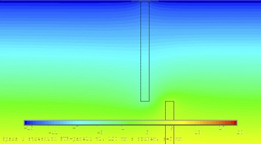 Obr. 24: Spoj na ozub, tl. 120 mm – spára 5 mm