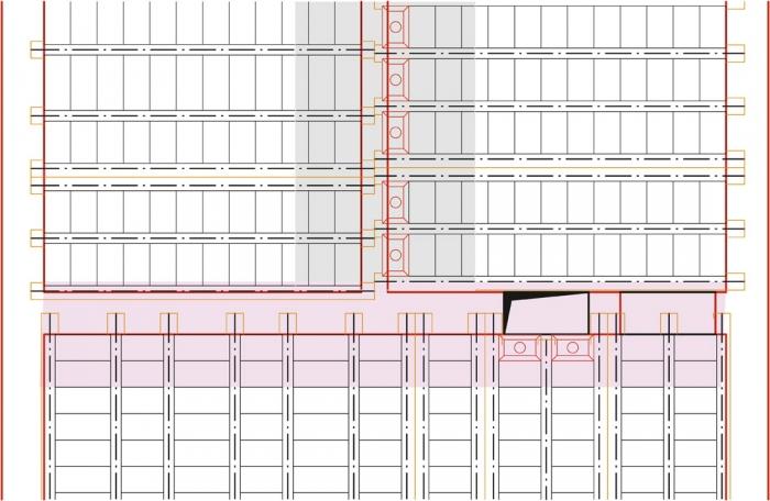 Obr. 4: Ideální vetknutí nad zdí (šedá plocha) a částečné vetknutí (růžová plocha)
