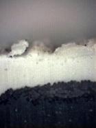 Obr. 19: Detailní snímek nekryté části zkušebního vzorku – příčný řez. Na snímku jsou patrné známky degradace materiálu.