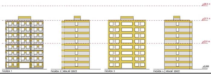 Obr. 1: Schéma použití MW a EPS na fasádě (šedě EPS, zeleně MW)