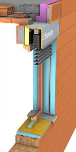 Obr. 1: Řez překladem a univerzální schránkou pro rolety a žaluzie Porotherm KP Vario UNI – nosná část překladu pro světlost otvoru do 1,5 m