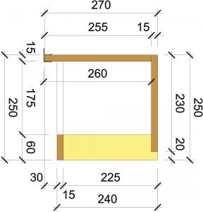 Obr. 3: Řez univerzální schránkou pro rolety a žaluzie Porotherm Vario UNI – hnědě purenit®, žlutě PUR deska