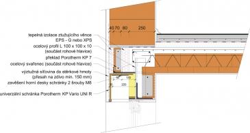 Obr. 10: Systémové řešení rohového překladu s univerzální schránkou Porotherm KP Vario UNI R