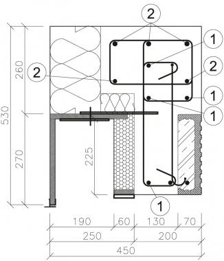 Obr. 18: Řez kotvením schránky v rohu bez sloupku