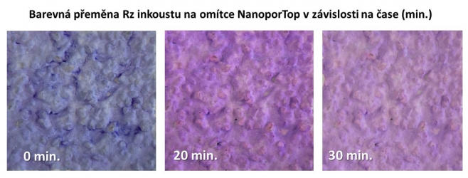 Barevná přeměna Resazurinového inkoustu na omítce NanoporTop v závislosti na čase. Z obrázku je patrné, že na povrchu fasádní omítky Baumit NanoporTop opatřené nátěrem Resazurinovým inkoustem dochází k fotokatalytické reakci, tedy že bylo dosaženo výrazné barevné přeměny Resazurinového inkoustu účinkem UV záření z počáteční modré na konečnou světle růžovou barvu. Je tak potvrzeno, že povrch fasádní omítky Baumit NanoporTop je skutečně fotokatalyticky aktivní a tím aktivně působí proti nečistotám, řasám a plísním na povrchu fasád. Prodlužuje životnost fasád a investic vložených do jejich obnovy.
