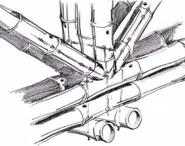 Obr. 3: Detaily spojení prvků bambusové konstrukce