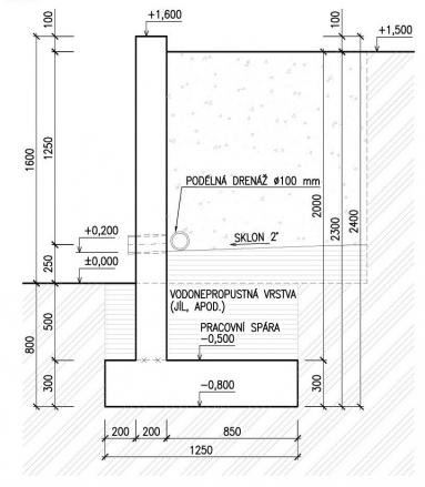 Obr. 3: Příklad příčného řezu úhlovou stěnou