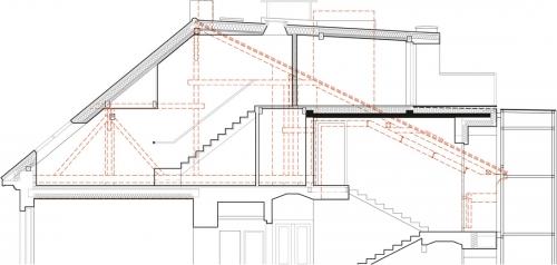 Řez: výška hřebene střechy zůstala stejná, ale změnil se její tvar. Směrem do dvora je pultová, vznikla tu také terasa. Červeně je vyznačena původní střecha.