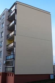 Pohled na štítovou stěnu po zateplení provětrávanou fasádou Diagonal 2H od Knauf Insulation