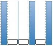 Obr. 3b: Trojsklo, 3 komory, Ug = 0,24 W/m².K, s tloušťkou od 50 mm včetně oboustranného pokovu na vnějším skle