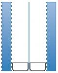 Obr. 3d: Dvojsklo, 2 komory, Ug = 0,4 W/m².K, s tloušťkou od 33 mm včetně oboustranného pokovu na vnějším skle