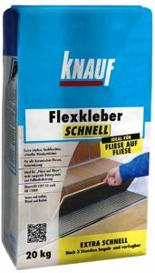 Novinka –flexibilní cementové lepidlo se sníženým skluzem Knauf Flexkleber Schnell
