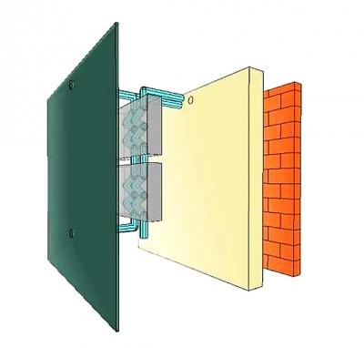 Obr. 1: Koncept E2VENT, zleva opláštění, vzduchová dutina s rekuperační jednotkou (SMHRU), izolace, vnější stěna