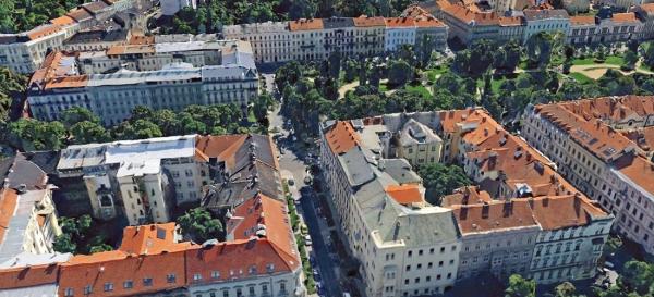 Obr. 1: Jedna z mnoha oblastí s častým výskytem dřevěných trámových stropů v Brně, okolí náměstí 28. října (zdroj mapy.cz)