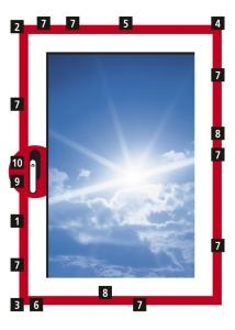 Obr. 10: 1 – OS převod 2 – rohové vedení 3 – rohové vedení OS 4 – rohové vedení nůžek 5 – křídlové nůžky 6 – OS rámový uzávěr ocelový 7 – bezpečnostní rámový uzávěr ocelový 8 – střední díl 9 – ochrana proti odvrtání 10 – uzamykatelná okenní klika
