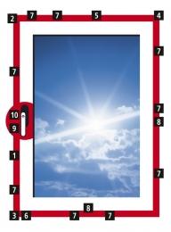 Obr. 11: 1 – OS převod 2 – rohové vedení (dva bezpečnostní čepy) 3 – rohové vedení OS 4 – rohové vedení nůžek 5 – křídlové nůžky 6 – OS rámový uzávěr ocelový 7 – bezpečnostní rámový uzávěr ocelový 8 – střední díl 9 – ochrana proti odvrtání 10 – uzamykatelná okenní klika