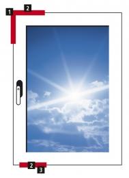 Obr. 12: 1 – rohové vedení s posuvným magnetem 2 – MVS kontaktní prvek 3 – prodloužení převodu nebo koncovka převodu s posuvným magnetem