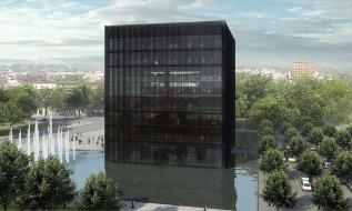 Moravskoslezská vědecká knihovna podle návrhu architektů Kuby a Pilaře