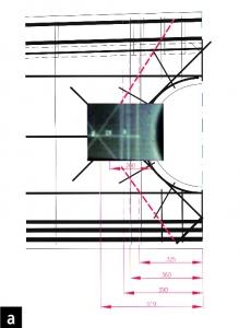 Obr. 2: Část výkresu projektovaného vyztužení vazníku v okolí otvoru s radiogramem v místě pořízeným (a) a detail radiogramu, kde je zjevná absence kruhové výztuže s radiálními pruty (b)