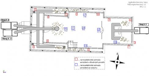 Obr. 14: Nákres procesu sanace: rozmístění agregátů se skládaným hliníkovým potrubím v objektu a značení pozic termoelektrických snímačů [4]