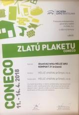 Zlatá plaketa Coneco za inovativní přístup k řešení problematiky v oblasti akustiky s výrobkem Heluz AKU Kompakt 21 broušená