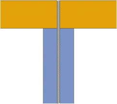 Obr. 8–10: Schematické příklady půdorysu návaznosti obvodové a meziobjektové stěny s různým vlivem na hodnotu korekce k1