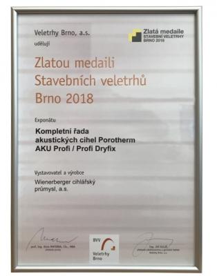 Zlatá medaile stavebních veletrhů Brno 2018