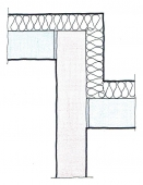 Obr. 8: Zalomené napojení AKU stěny s provázáním do vnějšího líce obvodové stěny