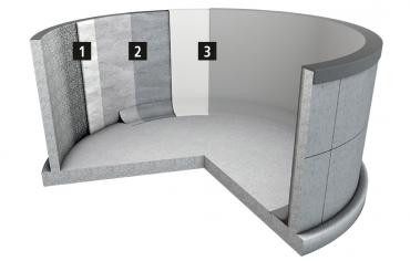 Sanace a ochrana zařízení na výrobu bioplynu 1 – egalizace na otryskaném betonu 2 – produkt MC-PowerPro HCRprimer na začištěné egalizaci 3 – produkt MC-PowerPro HCR, nanesený ve dvou vrstvách