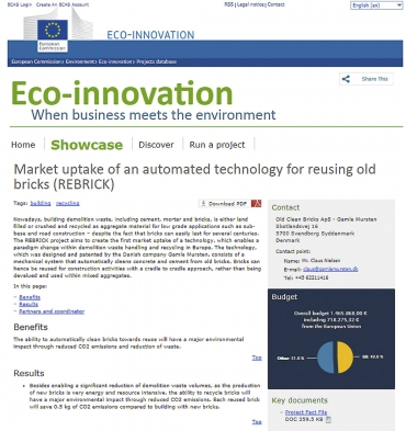 Obr. 2: Titulní list: Grant na vypracování technologie REBRICK  (zdroj http://ec.europa.eu)