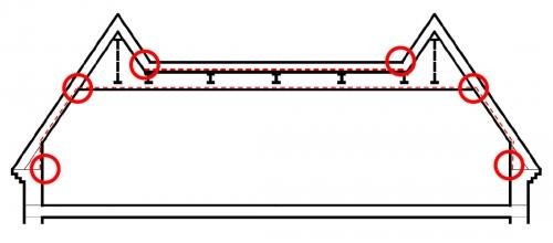 Obr. 1: Schéma konstrukce střechy s vyznačenou polohou fóliové parozábrany. Zvýrazněna jsou místa nedořešených napojení parozábrany na navazující konstrukce.