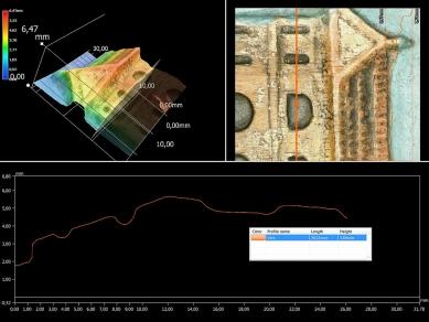 Obr. 6: Ukázka 2D a 3D analýz povrchu zkoumané části dřevěného artefaktu
